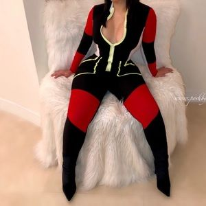 Black and red jumpsuit